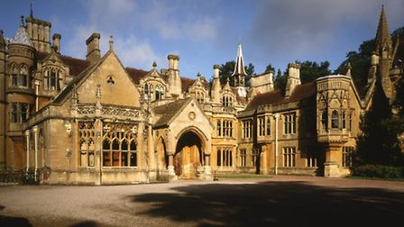 View of the East Front of Tyntesfield, showing entrance door and turreted roofs of this Victorian Go
