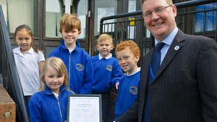 Achievement for All regional representitive John Reilly making the presentation to pupils.