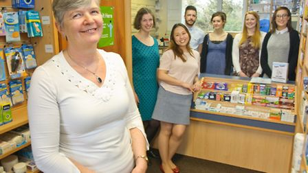 Margaret Hook and staff at Banwell pharmacy.