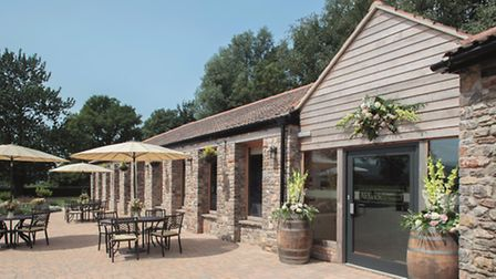 The terrace at Aldwick Court Farm and Vineyard.