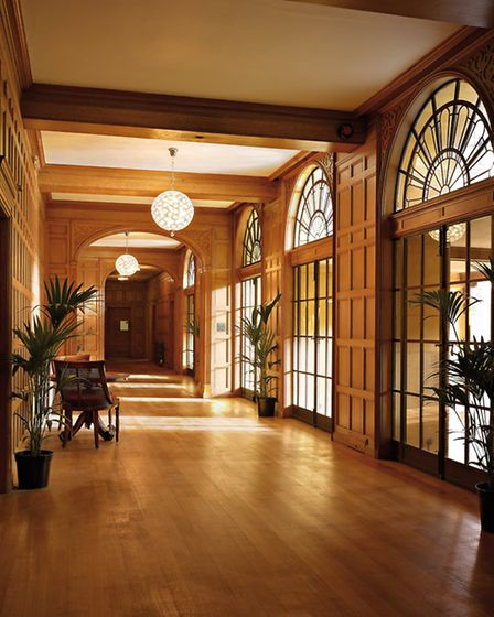 The Art Deco reception hall at Coombe Lodge.