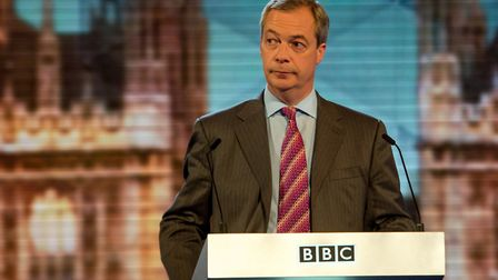 Nigel Farage appears during a BBC debate. Photograph: Stefan Rousseau/PA.