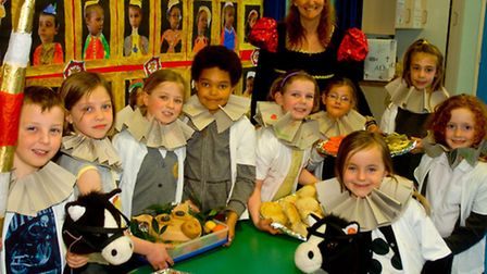 Golden Valley Primary School Nailsea year two pupils enjoying a Tudor banquet.