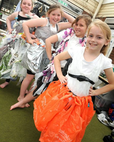 Pupils show off their recycled clothes.