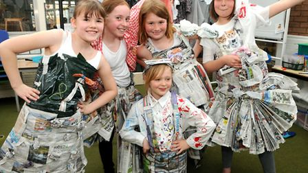 Golden Valley Primary School holding a recycled fashion show.