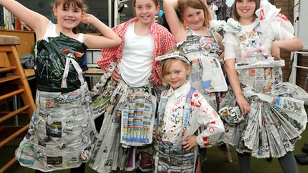 Pupils get creative with recycled material.