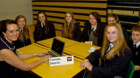 Gordano School pupils with a representative from Tomato Source