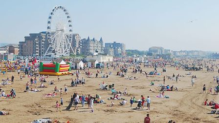 Weston-super-Mare beach is always busy during the holidays! © NotFromUtrecht, Wikimedia Commons