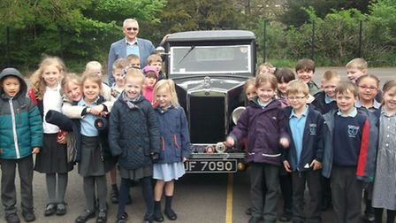 Martin Gregory with pupils at St Mary's Primary School