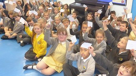 Golden Valley Primary School pupils registering their votes in the mock elections.