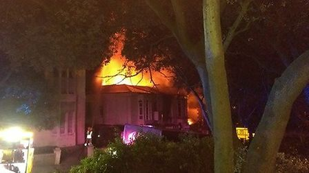 Flames were clearly visible. Photo by Roger Tully.