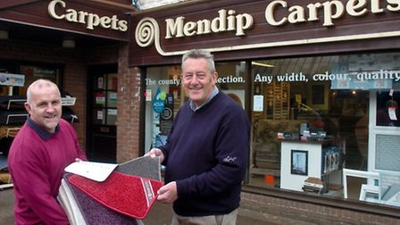 Mendip Carpets, High Street in business for 43 years. Neil O Rourke and Steven Williams.