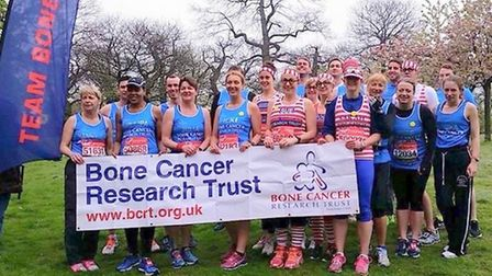 The group running the London Marathon for the Bone Cancer Research Trust.
