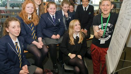 Pupils with poet Joelle Taylor.