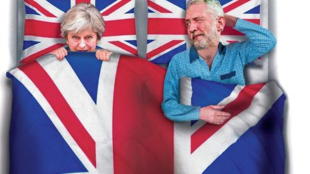 Theresa May and Jeremy Corbyn together in bed over Brexit? This week's front page illustration by Ch
