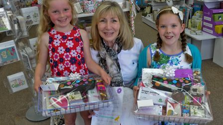 Country House Gift Co, Winscombe, National Stationery week prizes to children,!st Kiera Halls and 3r