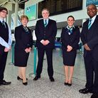 Bristol Airport staff wearing the newly designed uniforms at Bristol Airport.Photo by Dan Regan