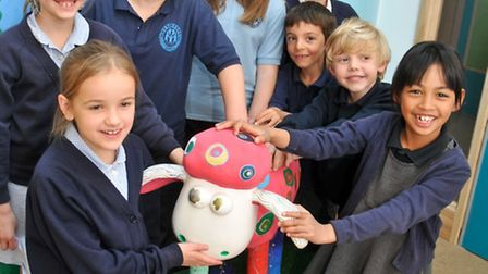 Portishead Primary School children with painted Shaun the Sheep.