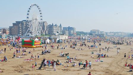 ('Weston-super-Mare beach seen from the Grand Pier, showing the popularity of the town as a tourist