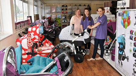 Opening of Weston Pram Centre Kirsty, Rose and Amy Pomphrey.