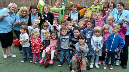 Roundabouts Preschool, Clevedon celebrating Good Ofsted rating.