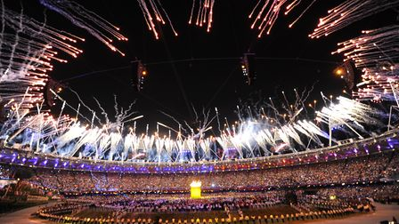 Fireworks during the London Olympic Games 2012 Opening Ceremony at the Olympic Stadium. Picture: ABA
