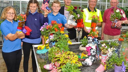 Westhaven School, Uphill plant a welly competition.