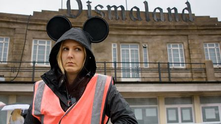 Miserable stewards are all part of the experience at Dismaland in Weston-super-Mare.