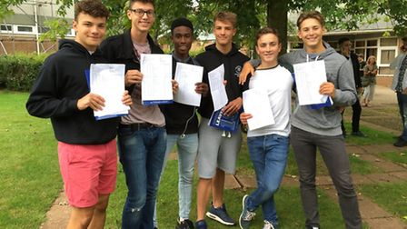 Boys at Backwell School with their GCSE results.