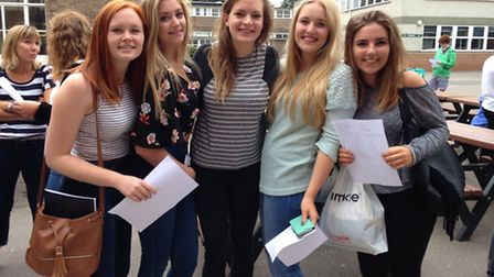 Emily Holland, Yas Bane, Alice Oldfield, Amy Lindley and Rosie Barker picking up their A-level resul