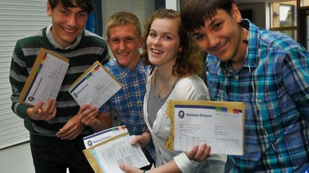 A-Level results day, Nailsea School, Noel Pring, Lewis Royce Vaughn Davies and Ashleigh Westgate.