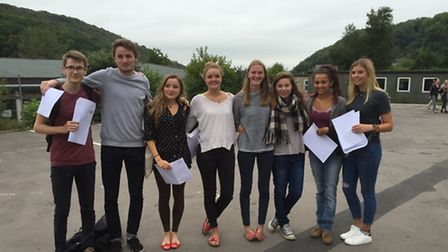 Students at Clevedon School after receiving their A-level results.