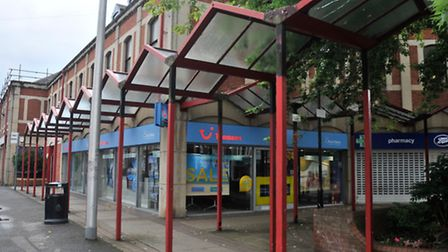 Red Canopy around the shop in aroud Queens Square and Triangle, Cleveon.