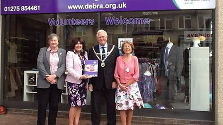 Chairman of North Somerset Council, Charles Cave, with DEBRA director of retail, Maureen Nickson, an