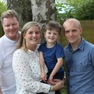 Lee and Charley Maher with their son Harrison and Harrison's godfather Oliver Jerrome.