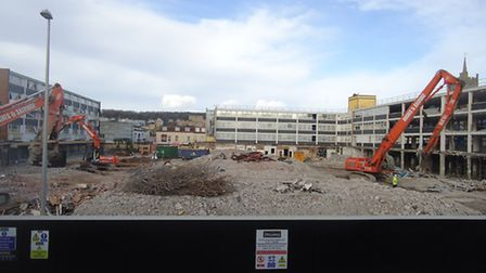 Dolphin Square being demolished in 2013.