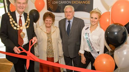 Mayor Cllr Raymond Armstrong, Mayoress Mrs Joan Dunne, director Kevin Childs and Miss Eco Meg Aberne