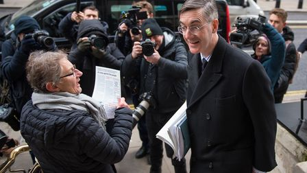 Jacob Rees-Mogg arrives to make a speech at a meeting of the Bruges group. Photograph: Dominic Lipin