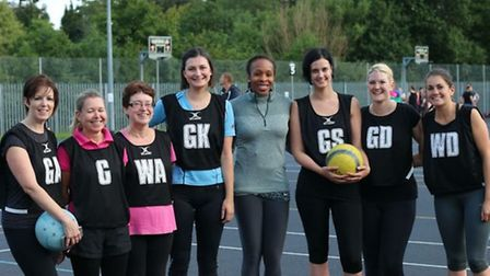 The Legal Eagles team with England netball captain Pam Cookey.