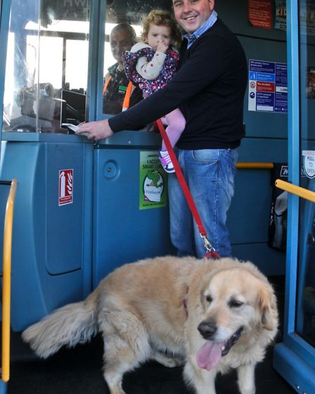Crosville allowing dogs on buses, Jonathon Jones-Pratt with his daughter Elena and dog Toby.