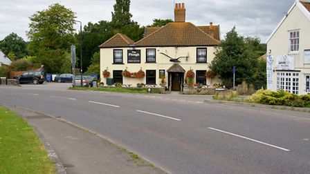 Congresbury, view of the road outside the Plough Inn, where High Street becomes Brinsea Road.