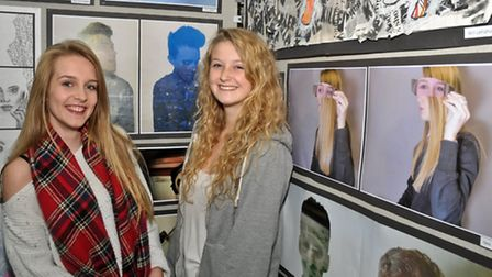 Nailsea School students art show. Sara Bayliss and Emily Hayes.