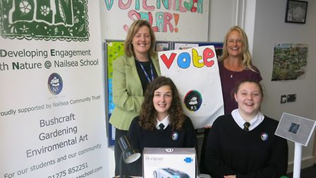 Pupils from the DEN group at Nailsea School making posters to encourage people to vote for the solar