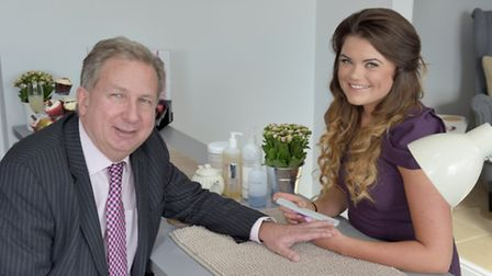 Dr Phillips getting his nails done with Emma Rogers.