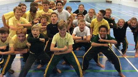 Pupils from The Downs School doing a haka dance to celebrate the Rugby World Cup.