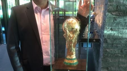 Rod Sowden with the FIFA World Cup.