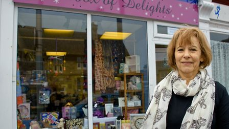 Beverley with her new shop, Box Of Delights.
