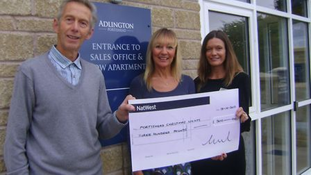 Portishead Christmas Lights committee member Dennis O'Neil receives a cheque from Adlington House st