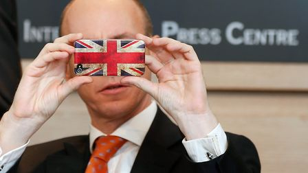Brexiteer Daniel Hannan on his smartphone in Brussels. Photograph: Bruno Fahy/PA.