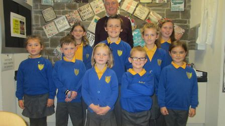 Anthony Pritchard with current Tickenham Primary School pupils.